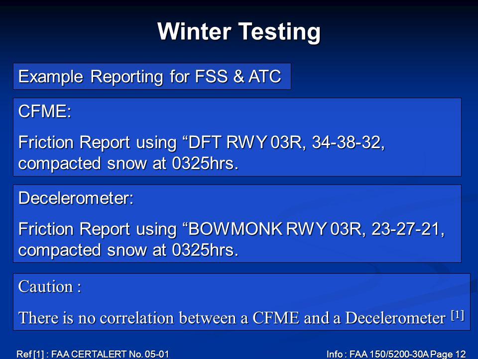 Ref [1] : FAA CERTALERT No. 05-01